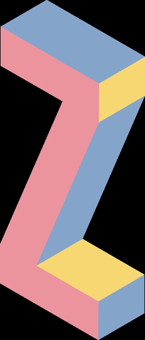 字母Z彩色立体拼色矢量logo图标