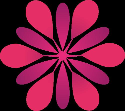 红色花朵花瓣图案矢量logo图标
