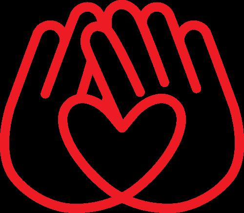 红色双手爱心公益相关logo素材图片