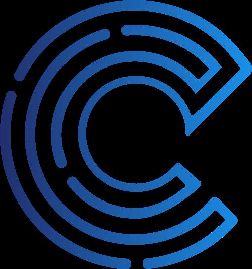蓝色字母C科技线条矢量logo图标