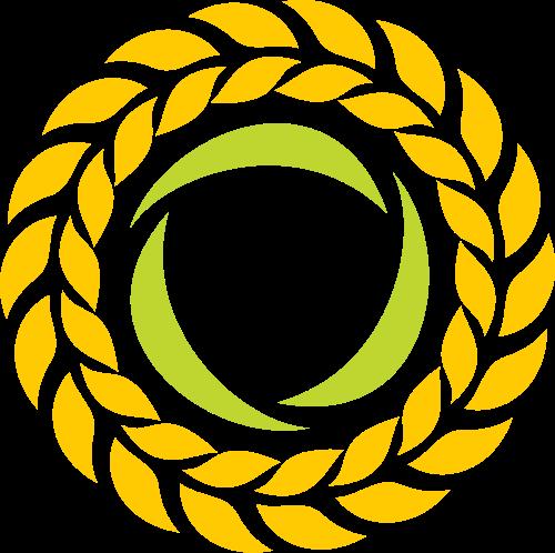 黄色麦穗圆形叶子花环矢量logo图片矢量logo