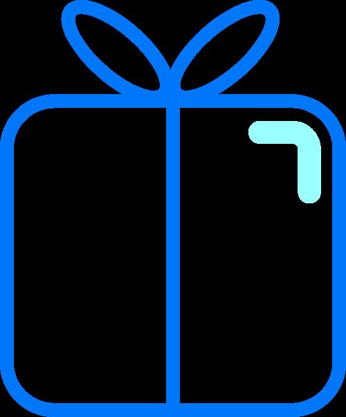 蓝色线条礼盒矢量图标素材