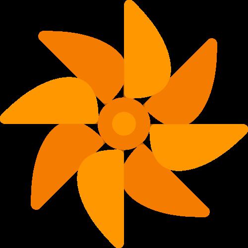 橙色童年风车状矢量logo素材