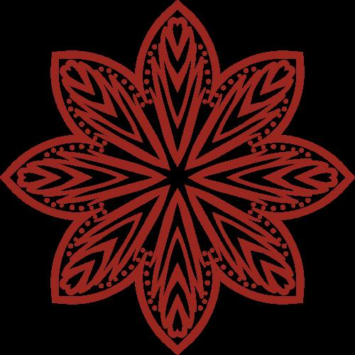 红色喜庆剪纸花朵矢量logo图标