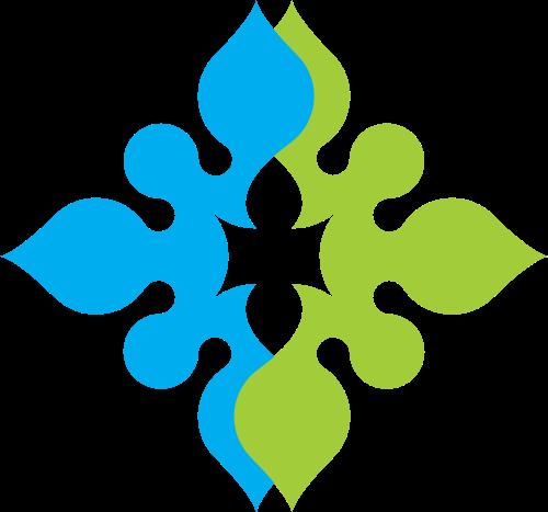 蓝绿双拼花纹图案矢量logo图标矢量logo