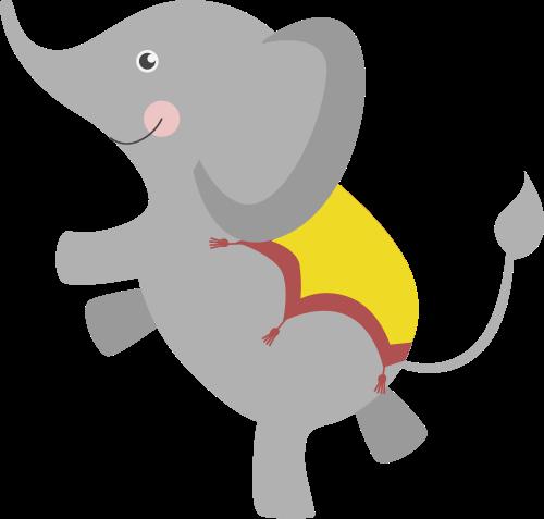 儿童卡通小飞象表演矢量素材图标