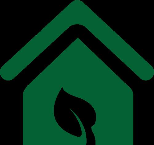 绿色房屋叶子环保矢量图标素材