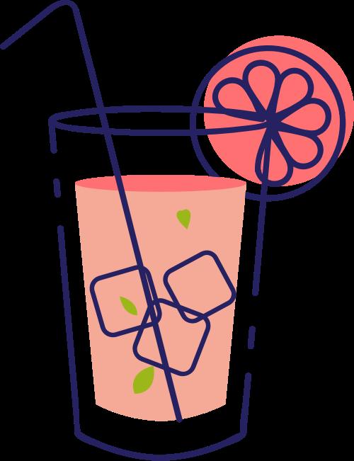 夏日冰凉饮品矢量logo图标