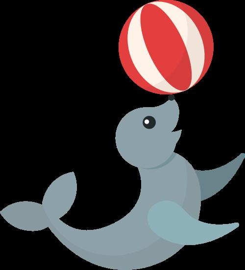 动物园海狮玩球表演矢量图标素材