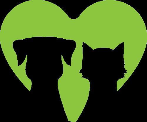 绿色爱心猫狗logo设计素材