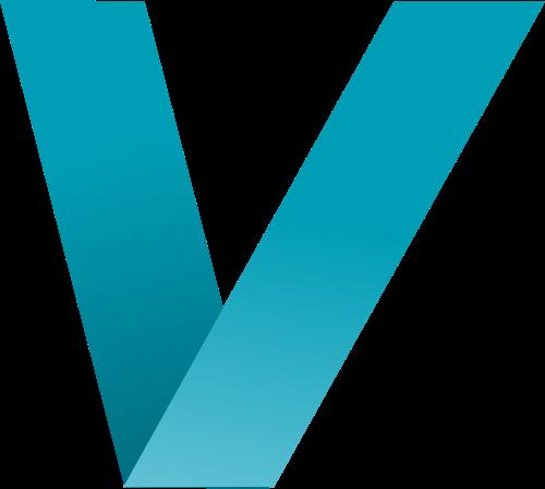 蓝色字母V折纸logo设计素材