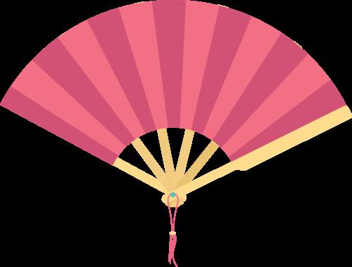 中国风粉色扇子矢量图标素材