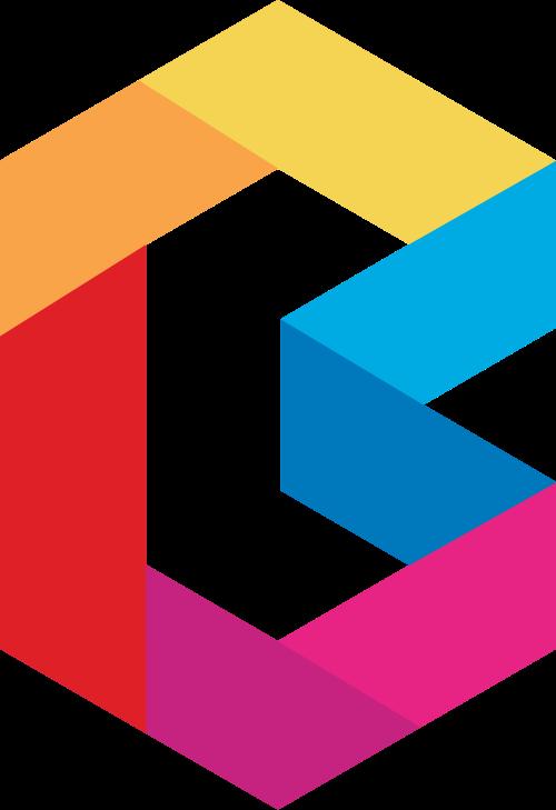 多彩几何字母Blogo设计素材