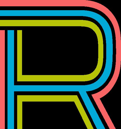 字母R三色矢量标志图片