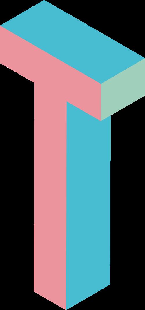 彩色字母T立体拼色logo素材图片
