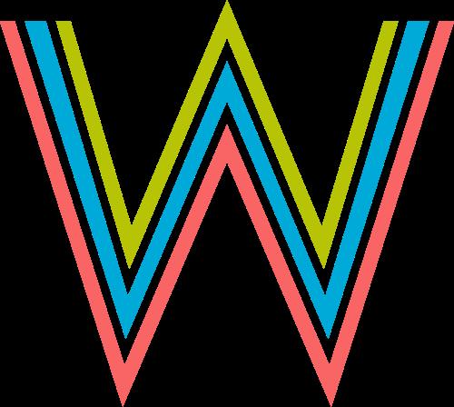 字母W三色矢量logo图标