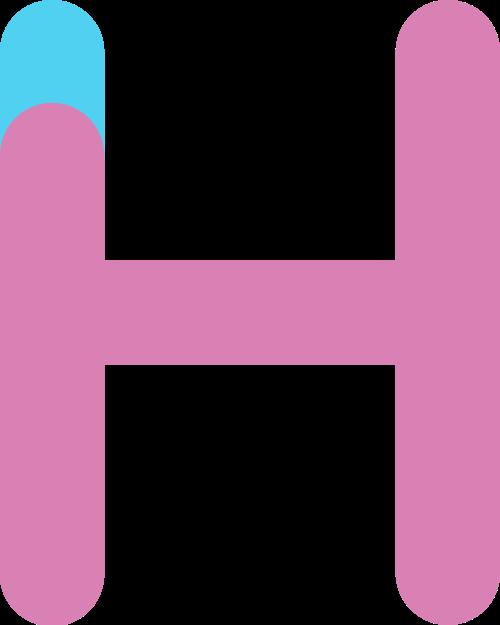 字母H双色logo设计素材