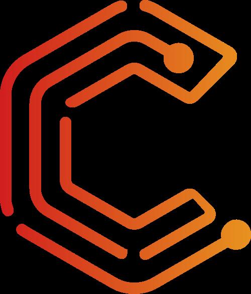 红色渐变字母C线条圆点logo素材图片
