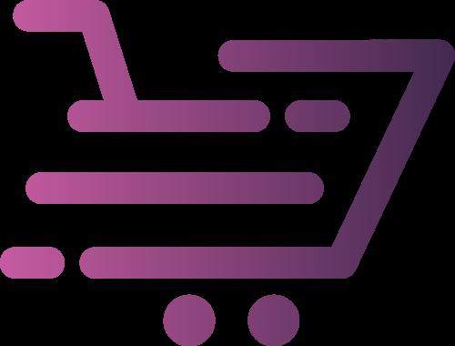 紫色渐变购物车矢量logo图标