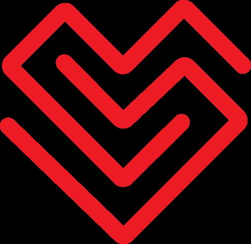 红色几何折线爱心矢量logo图片矢量logo