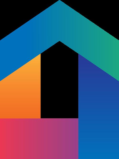彩色渐变房屋logo素材图片