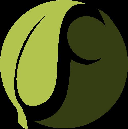 树叶人形矢量logo图标