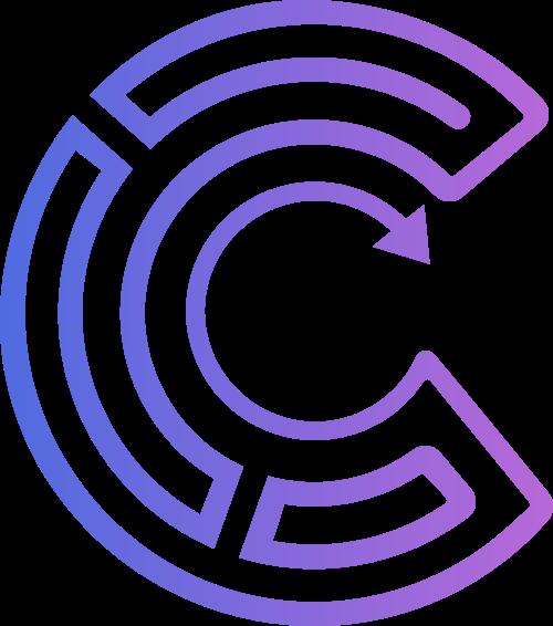 紫色渐变箭头半圆字母C矢量标志图片