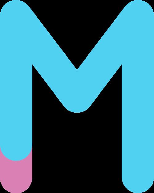 字母M双色矢量logo图标
