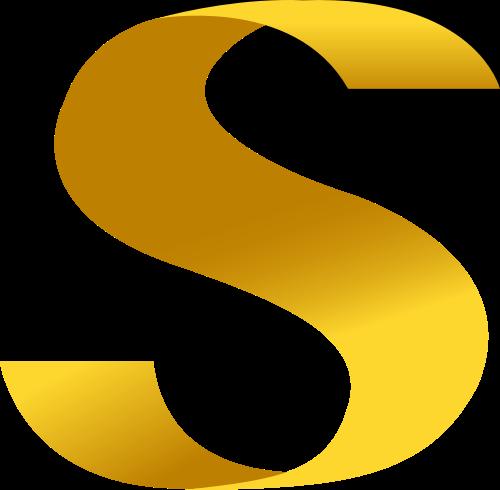 黄色字母S曲面线条logo设计素材