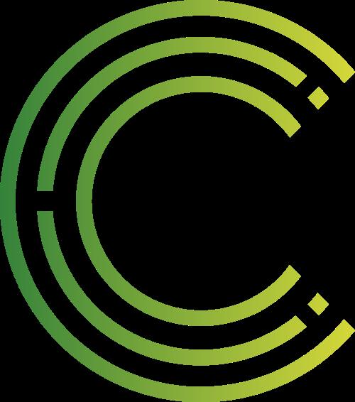半圆绿色渐变字母C线条logo设计素材