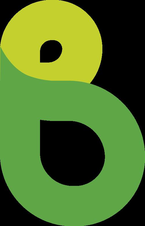 绿色粗体线条字母B矢量logo图标