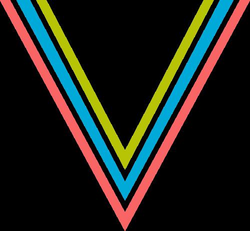 字母V三色logo设计素材