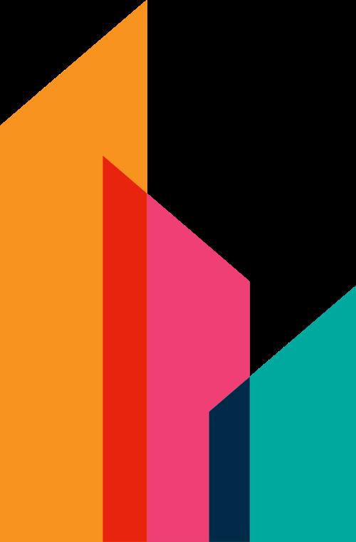 彩色几何块建筑风格logo素材图片