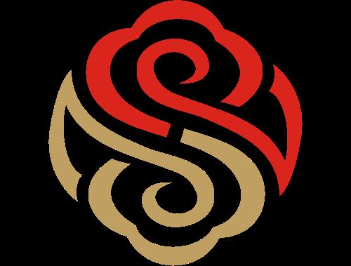 中国风祥云携手剪纸图案Logo素材