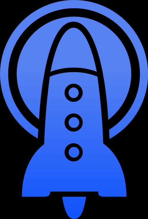 蓝色火箭发射突破启动矢量图形