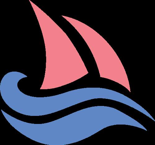 海浪帆船矢量图形