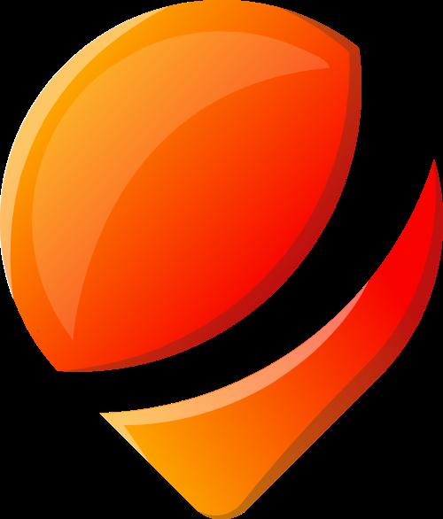 橙色渐变立体地理位置图标矢量图形