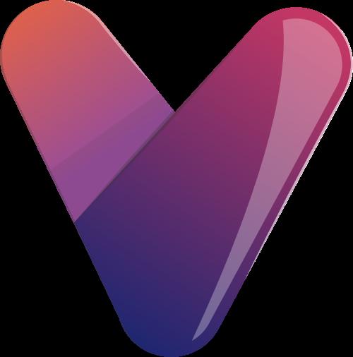 立体紫色渐变v字形矢量图形