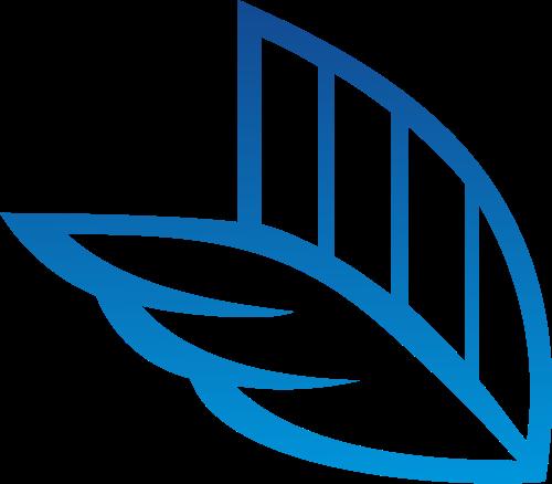 蓝色羽毛翅膀矢量图形