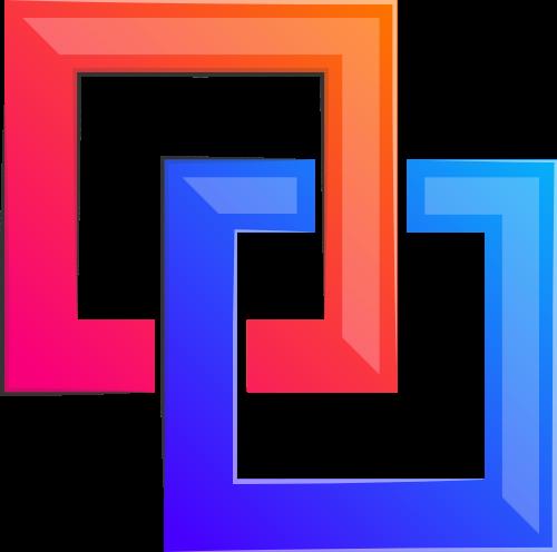 彩色正方形立体重叠矢量图形