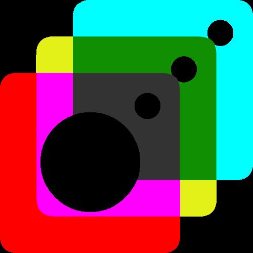 三色摄影照相相机重叠矢量logo图形