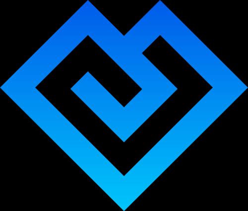 蓝色简洁大气三角爱心矢量logo