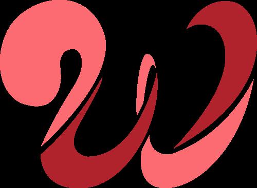字母W红色矢量图标