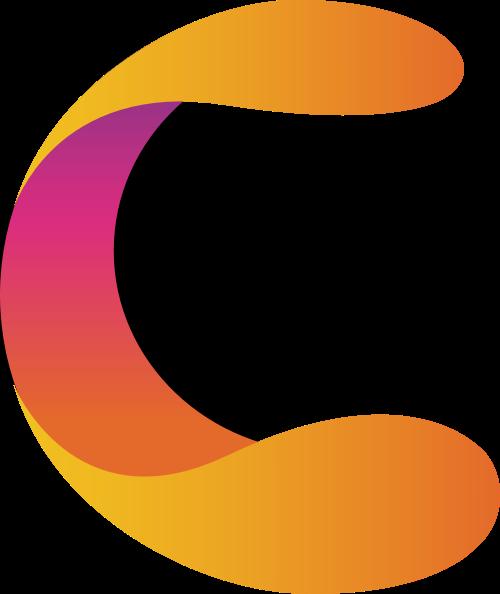 丰富立体多彩字母C漂亮的渐变logo图标