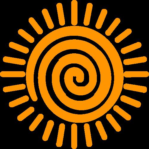 橙色儿童太阳矢量图形