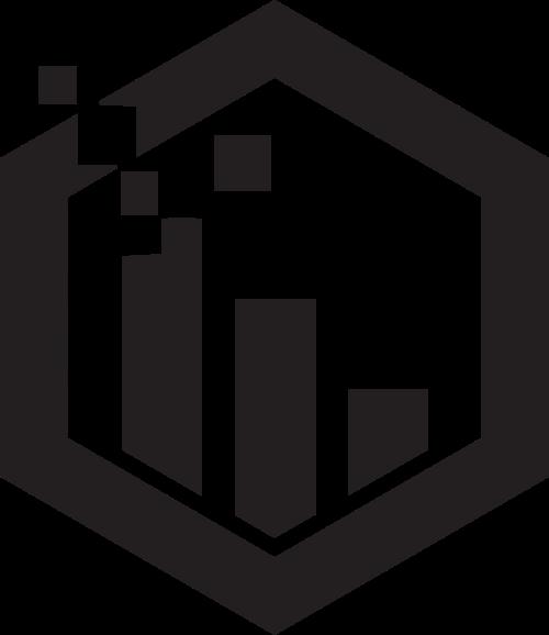 销售数据增长六边形矢量logo图形