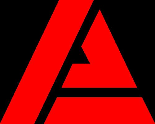 红色三角形字母A矢量图形