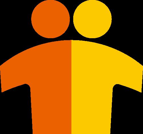 两个小人朋友伙伴教育相关矢量logo图形