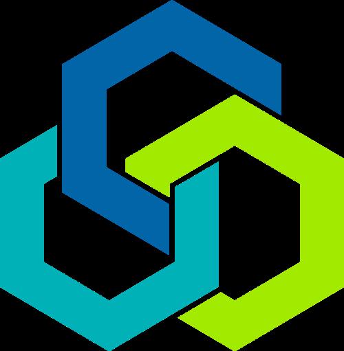 六边形组合环环相扣矢量logo图形