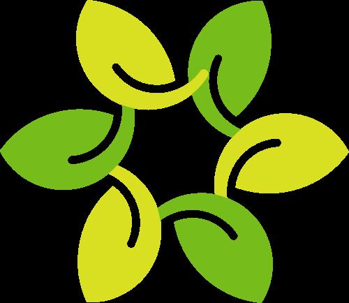 绿色树叶花环矢量logo模板